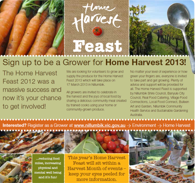 Home Harvest Feast 2013 poster